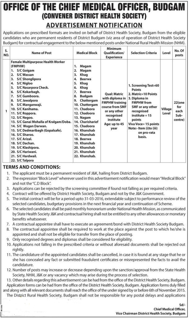 Office Of The Chief Medical Officer Budgam Requires Female