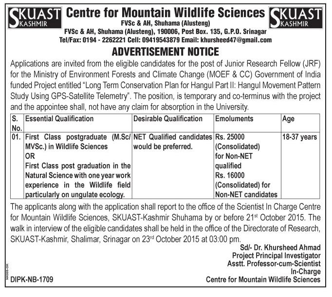 Centre for mountain wildlife sciences