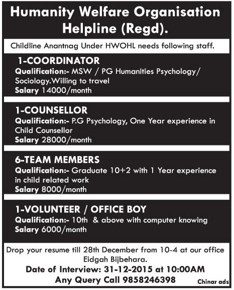 Humanity Welfare Organisation Helpline (Regd)