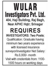 Wular investigators Pvt Ltd
