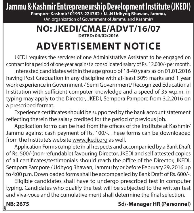 Jammu & Kashmir Entrepreneurship Development Institute (JKEDI)