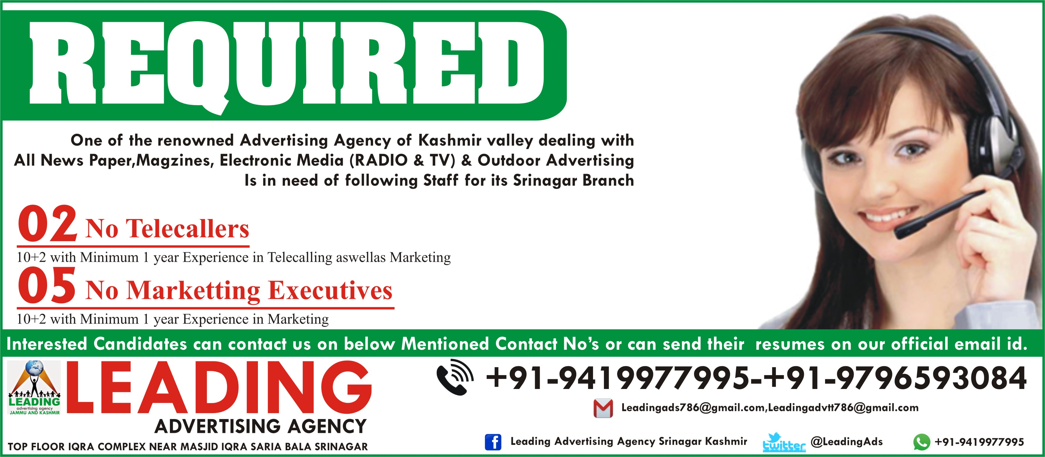 Leading Advertising Agency Requires Telecallers (02 ...