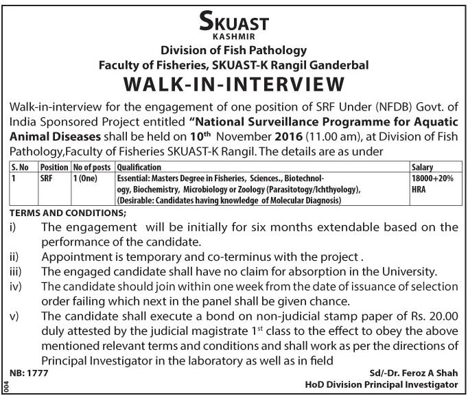 SKUAST KASHMIR (Division of Fish Pathology Faculty of Fisheries)