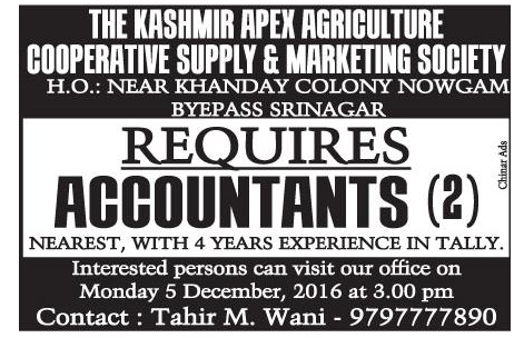 The Kashmir apex agriculture Cooperative supply & marketing  society