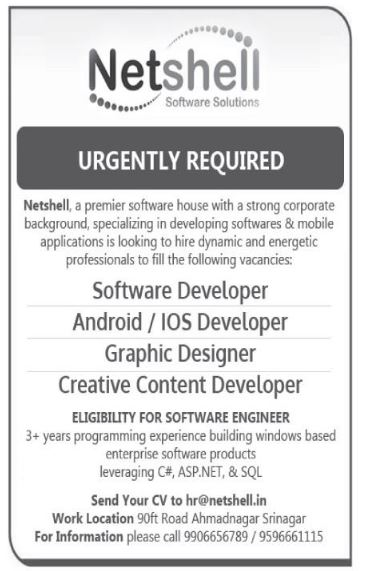 Software developers, Android/IOS Developer, Graphic Designer, Creative Content Developer