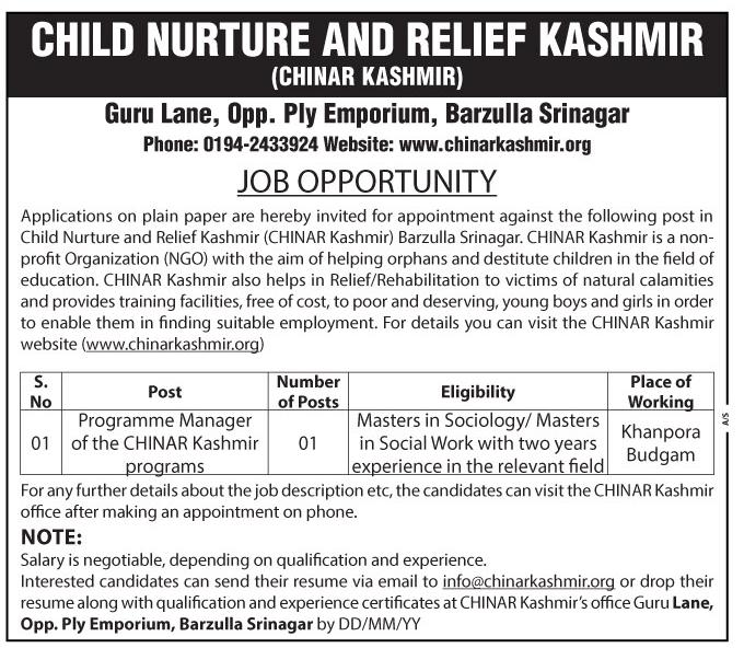 Child Nurture and Relief Kashmir