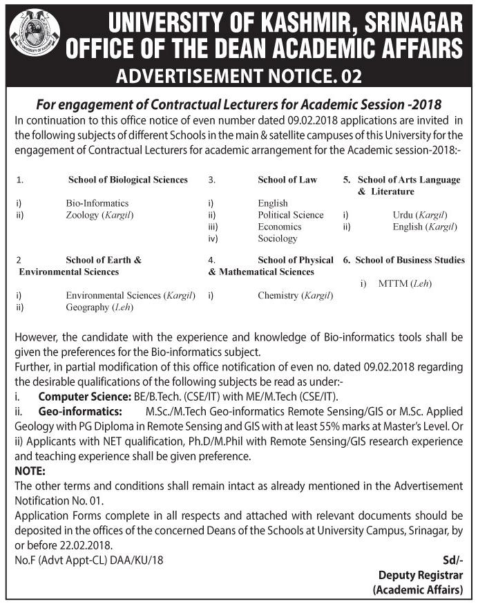 Contractual Lecturers for Academic Session -2018