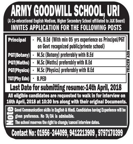 Army Goodwill School ,URI
