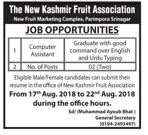 The New Kashmir fruit association