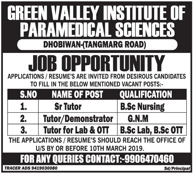 Green Valley Institute Of Paramedical Sciences