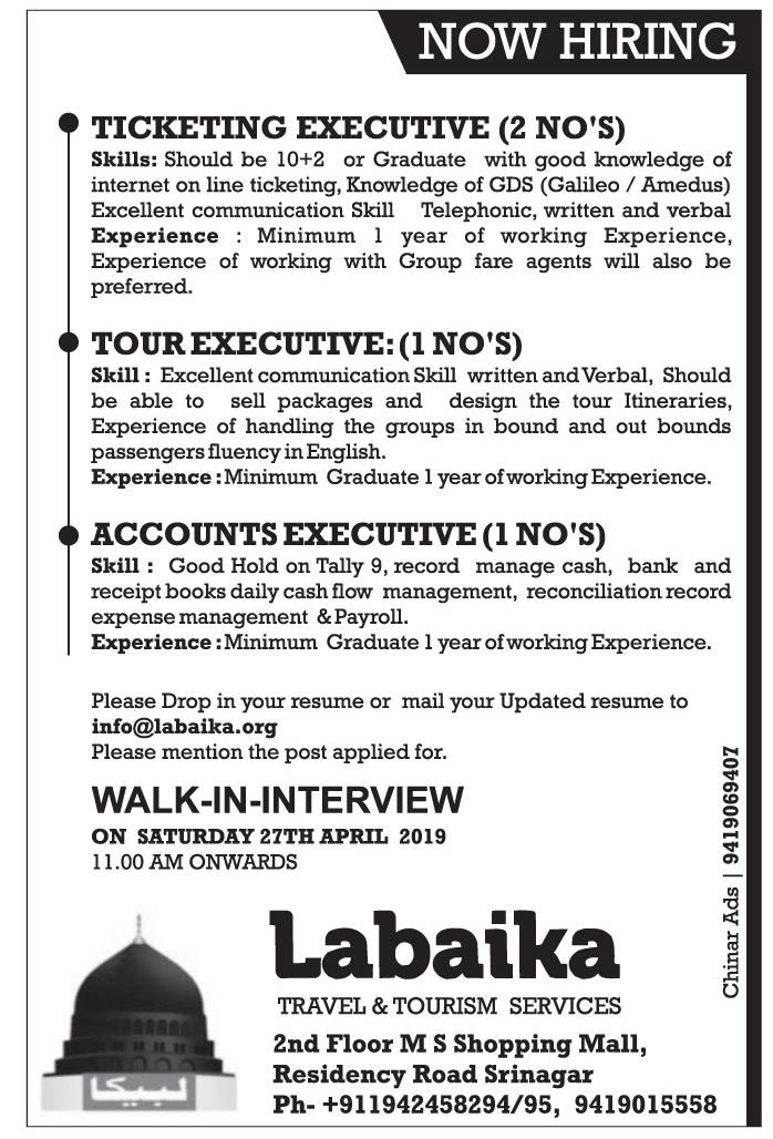 Jobs in Labaika Travel & Tourism services