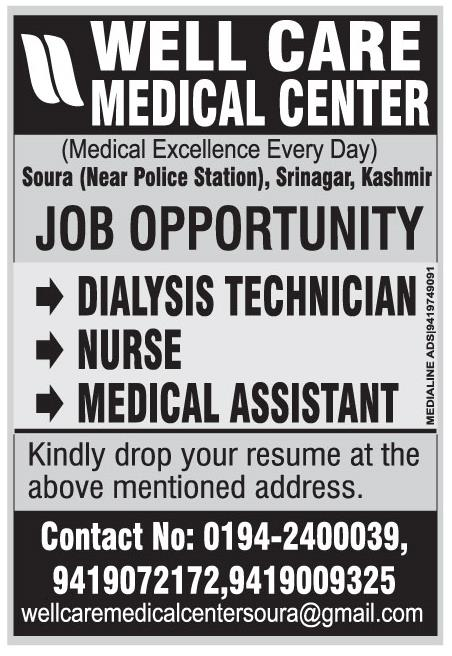 Job Opening in Well Care Medical Center