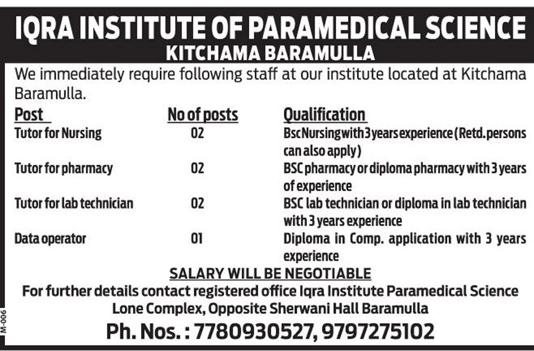 Jobs In Iqra Institute of Paramedical Science