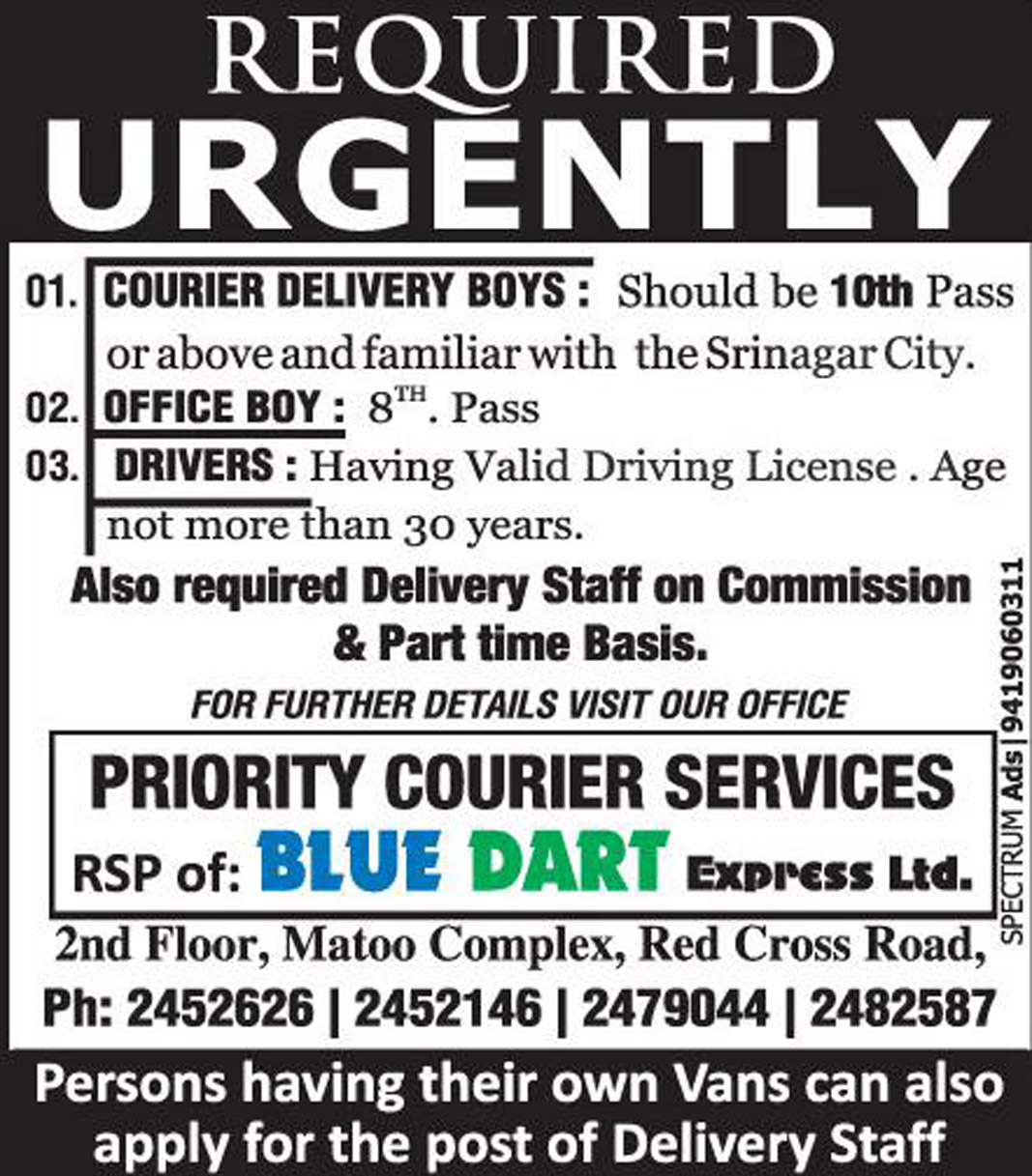 Courier Delivery  Jobs Blue Dart Express Ltd