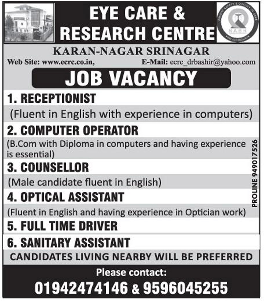 Jobs In  Eye Care & Research Centre