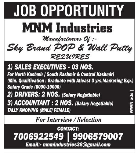 Job Opening in MNM Industries
