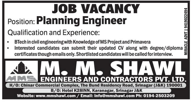 Job Vacancy In M.M.Shawl