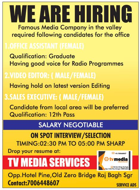 Job Opening in Tv Media services