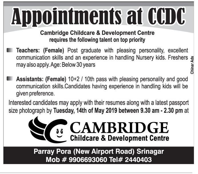 Teaching Jobs At CAMBRIDGE 'Childcare & Development Centre