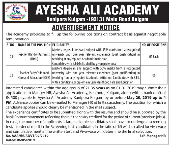 Jobs In Ayesha Ali Academy
