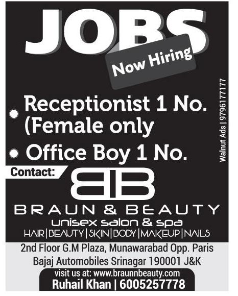 JOBS in braun & Beauty Unisex & Spa Requires Receptionist