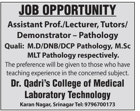 Job Opening in Dr.Qadri's college of medical Laboratory technology