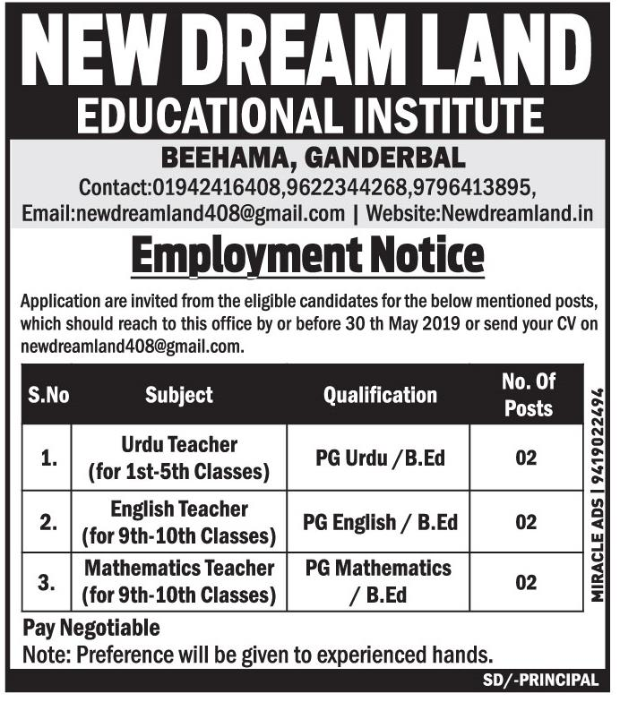 Jobs In New dream Land educational Institute