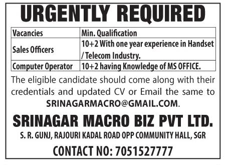 Jobs in Srinagar Macro Biz Pvt Ltd