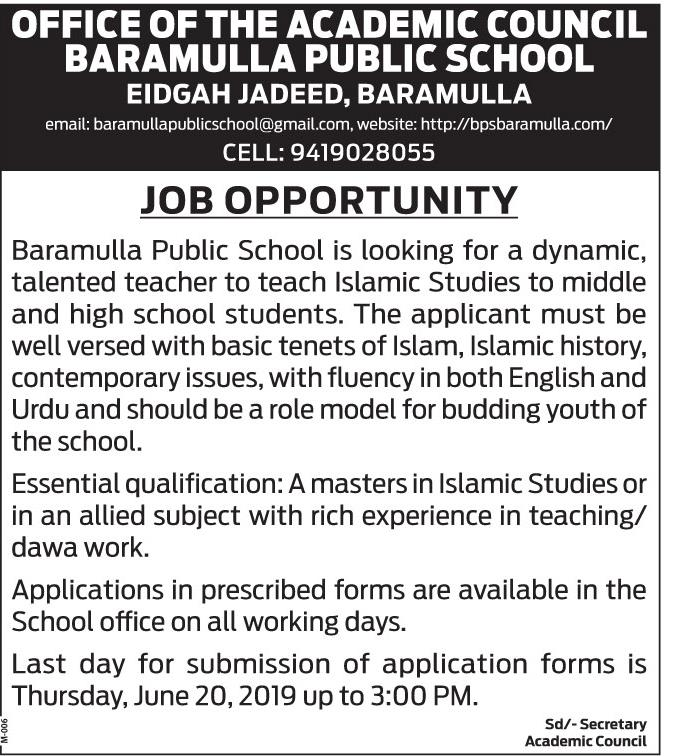 Jobs in Office  of  the Academic council baramulla public school