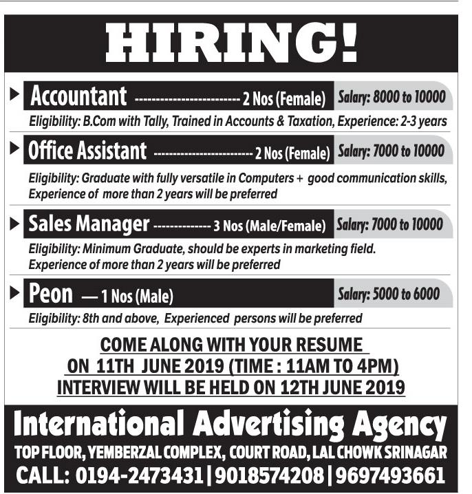 Job Opening  in International Advertising Agency