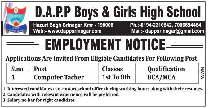Jobs In D.A.PP Boys & Girls High School