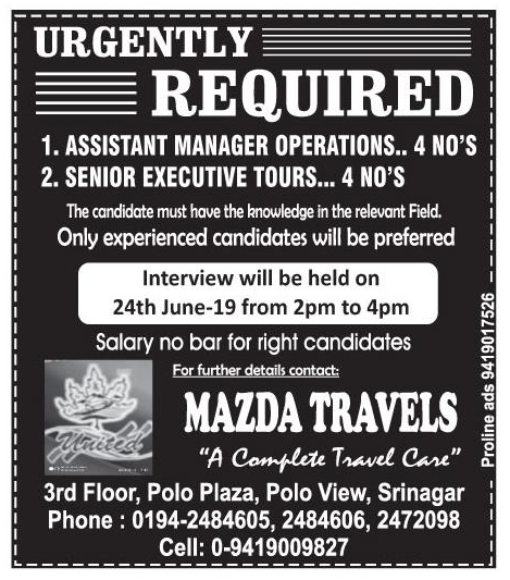 Job Opening in Mazda Travels