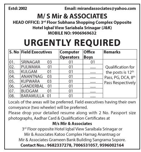 Jobs In M/S Mir & Associates