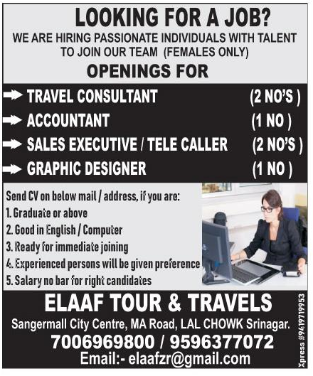 Job Opening in  Elaaf Tour & Travels