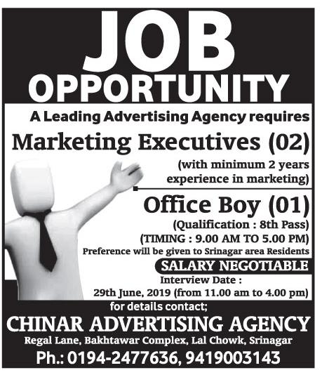 Jobs in Chinar Adverting's  Agency