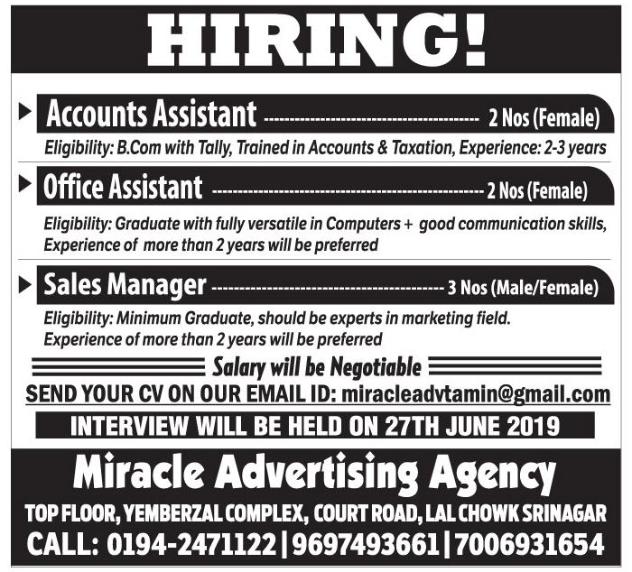 Job opening in Miracle Advertising Agency