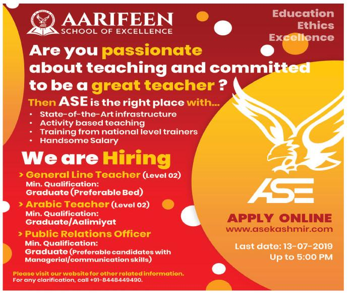Teaching Jobs In Aarifeen School Of excellence