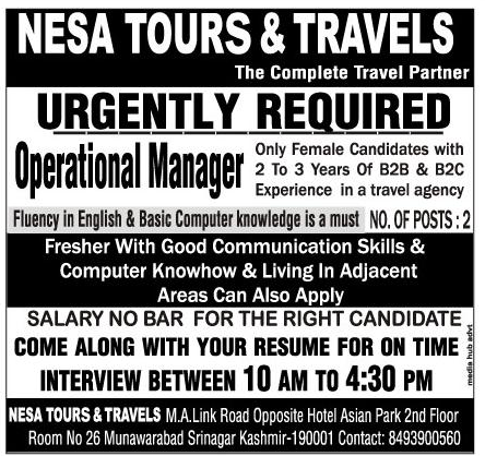 Urgently Required Operational manager in Nesa tours & travels