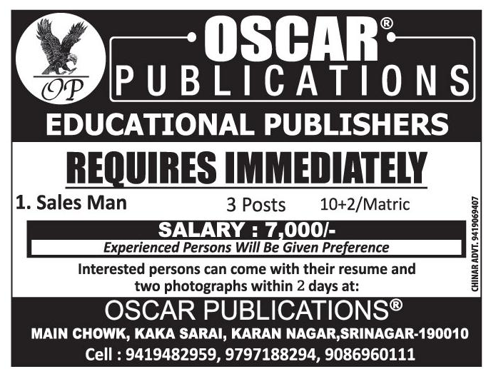 Job opening in Oscar Publications
