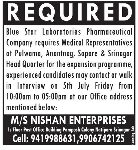 Blue Star  Laboratories Pharmaceutical  Company requires medical Representative