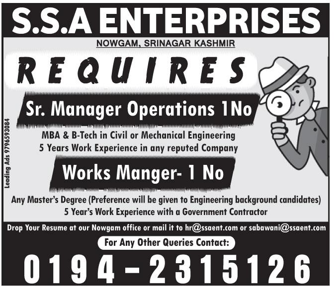 Managerial jobs in S.S.A enterprises