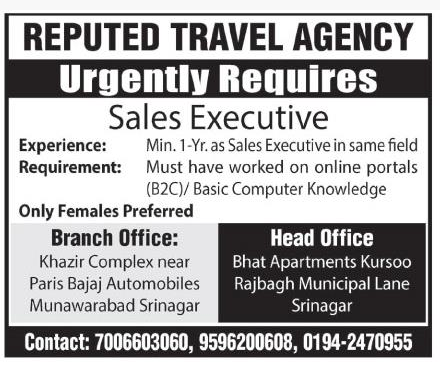 Sales Executive required in a reputed travel agency