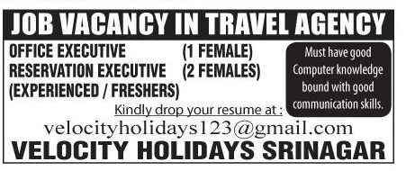 Job Opening in Velocity Holidays Srinagar
