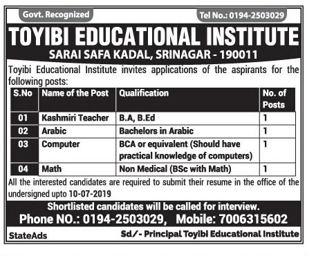 Toyibi Educational Institute teaching jobs july 2019