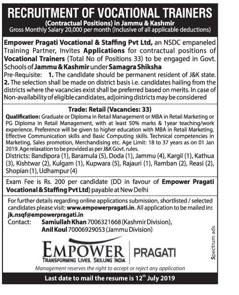 RECRUITMENT OF VOCATIONAL TRAINERS at Empower Pragati Vocational & Staffing Pvt Ltd, July 2019