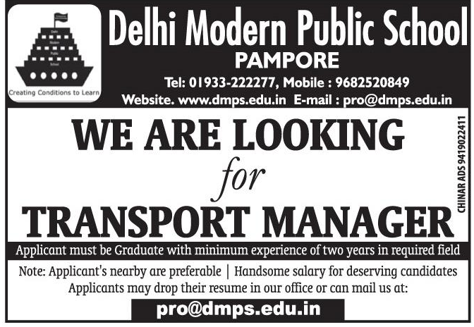 Transport Manager Job 2019 Delhi Modern Public School