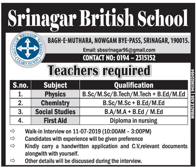 Teaching Jobs July 2019 Srinagar British School