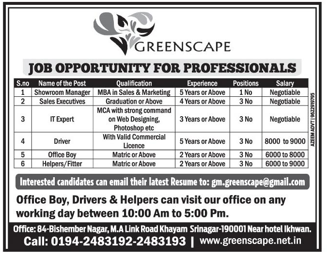 Job opportunity for professionals  in Greenscape