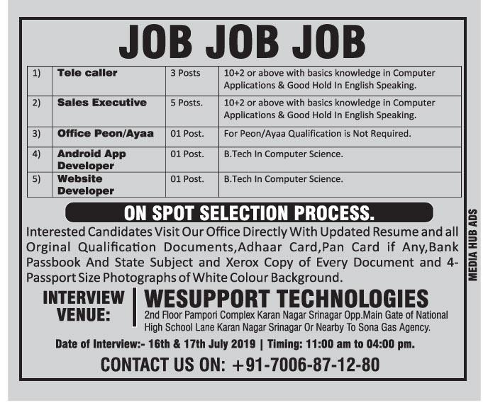 Jobs  july 2019 In Wesupport Technologies