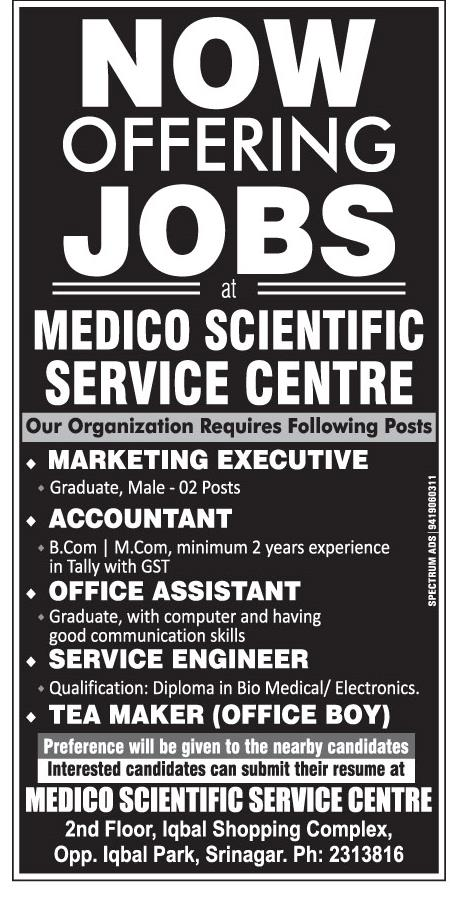 Offering Jobs at Medico Scientific Service center